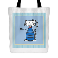 Cat Themed Tote Bag - Meow In Blue
