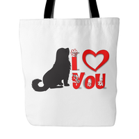 Dog Themed Tote Bag - I Heart You (Style 2)