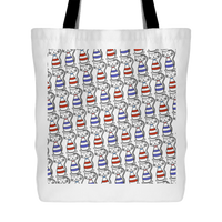 Cat Themed Tote Bag - Cats In Red & Blue On White