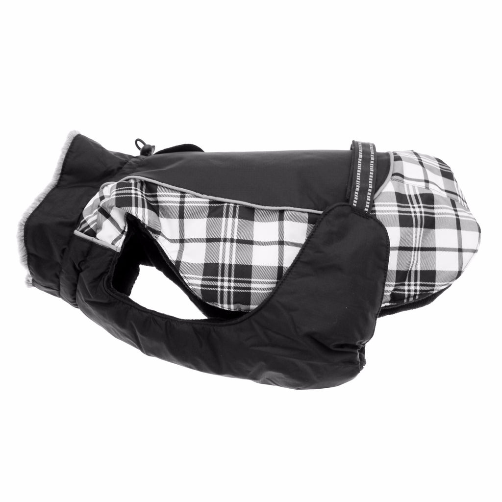 Black and White Plaid Alpine All Weather Dog Coat - FurMinded