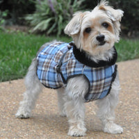 Designer Dog Coat - Alpine All-Weather Dog Coat - Flannel Brown and Blue Plaid