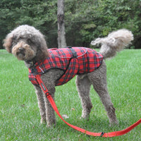 Designer Dog Coat - Alpine All-Weather Dog Coat - Flannel Red & Green Plaid