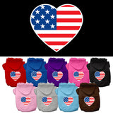 Basic Dog Hoodie - Screen Print Patriotic American Heart Flag