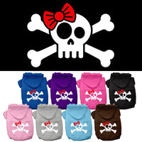 Basic Dog Hoodie (Screen Print) - Skull & Crossbones With Bow