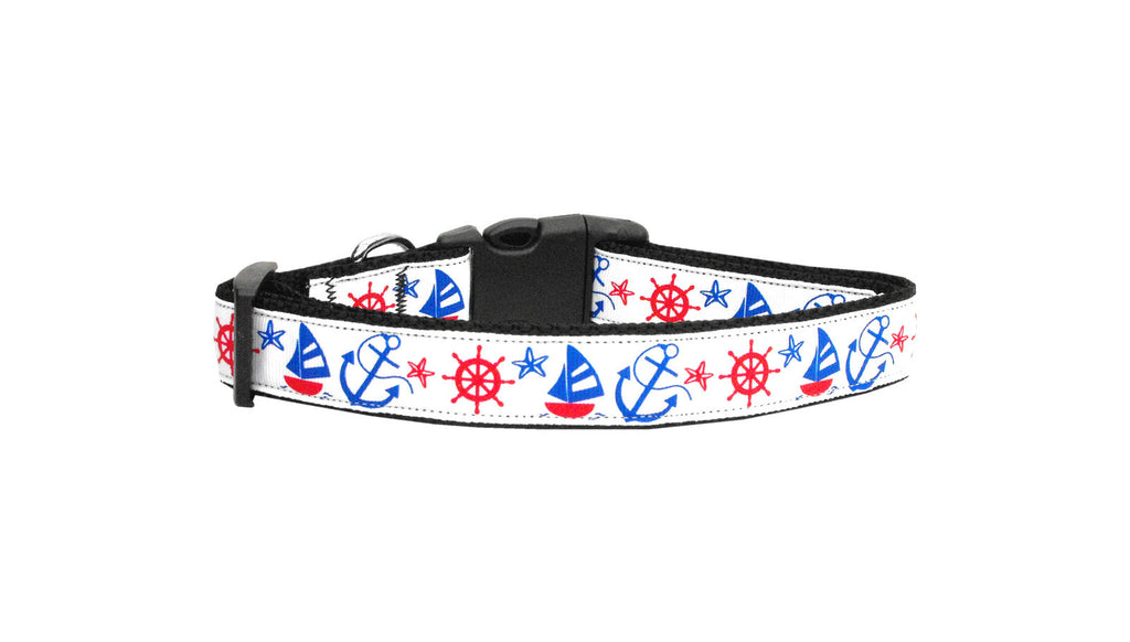 Nylon Dog Collar - Patriotic Anchors Away