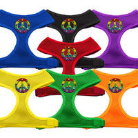 Basic Soft Dog Harness - Chipper Rainbow Peace Sign