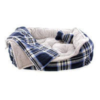Flannel and Minky Pet Bed - Blue Plaid