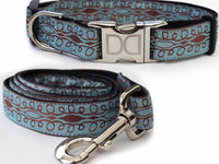 Calligraphy Blue Dog Collar and Leash Set - FurMinded