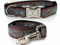 Calligraphy Brown Dog Collar and Leash Set - FurMinded