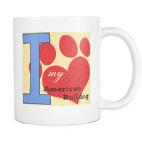 Dog Themed Mug - American Bulldog Dog Breed On White