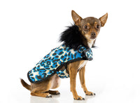 Designer Dog Coat - Faux Fur Animal Print Blue - FurMinded