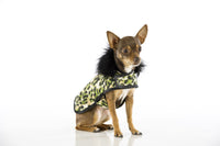 Designer Dog Coat - Faux Fur Animal Print Green - FurMinded