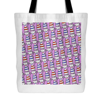 Cat Themed Tote Bag - Cats In Red & Blue On Lavender