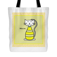 Cat Themed Tote Bag - Meow In Yellow