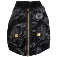 Dog Coat - foufoudog Bomber Dog Jacket in Black Satin - FurMinded