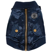 Dog Coat - foufoudog Bomber Dog Jacket in Navy Blue Satin