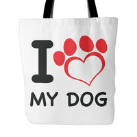 Dog Themed Tote Bag - I Heart My Dog (Style 1)