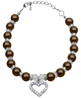 Dog Collar Necklace - Heart & Pearls with Clear Crystal in Chocolate