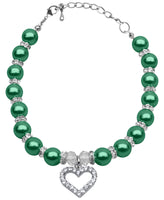 Dog Collar Necklace - Heart & Pearls with Clear Crystal in Emerald Green