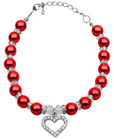 Dog Collar Necklace - Heart & Pearls with Clear Crystal in Red