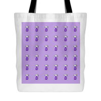 Cat Themed Tote Bag - Cats In Purple On Purple