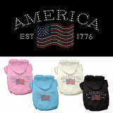 Patriotic Basic Dog Hoodie - Rhinestone Classic American (4 Colors)