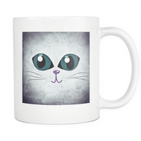 Cat Themed Mug - Big Eyes Cat Face In Purple & Blue