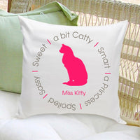 Personalized Cat Throw Pillow - Silhouette in Pink Circle of Love
