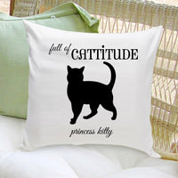 Personalized Cat Throw Pillow - Silhouette in Black Catitude