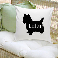 Personalized Dog Throw Pillow - Dog Silhouette in Black
