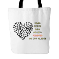 Dog Themed Tote Bag - Dogs Leave Paw Prints