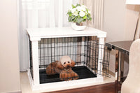 Dog Crate with Wooden Cover - White - FurMinded
