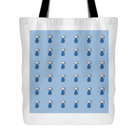 Cat Themed Tote Bag - Cats In Blue On Blue