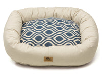 West Paw - Bumper Pet Bed w/Cotton (Groove - Cobalt with Linen)