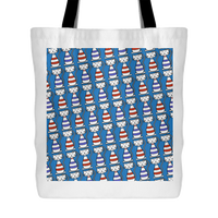 Cat Themed Tote Bag - Cats In Red & Blue On Blue