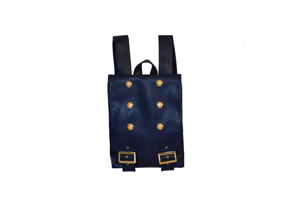 Mini Navy Blue Leather Backpack  | Mochila Mini Color Azul Marino
