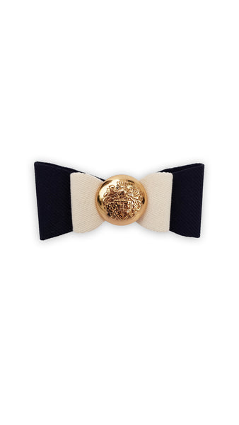 Navy Blue with Beige Bow | Moño Azul Marino con Beige