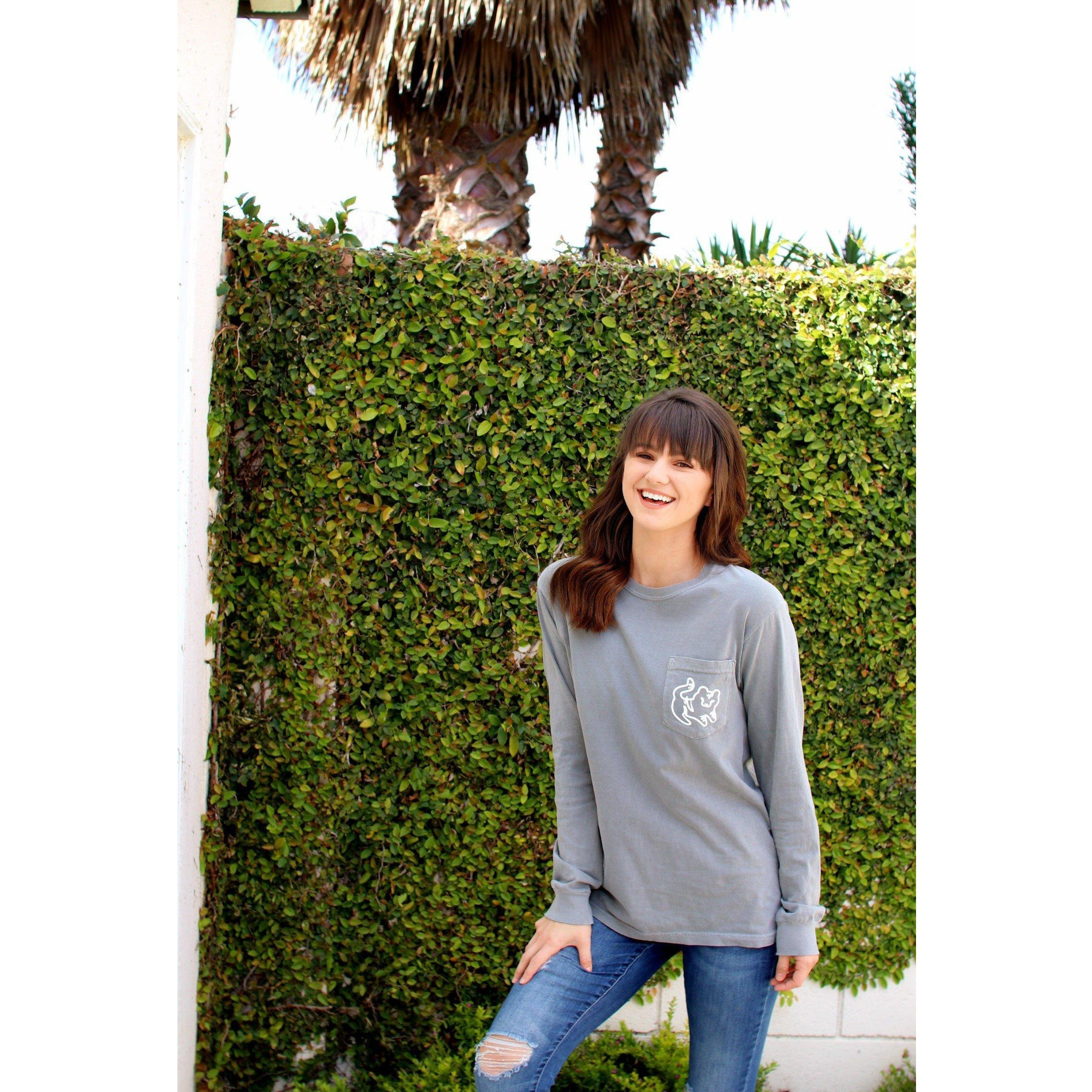 Grey Long Sleeve Pocket Tee