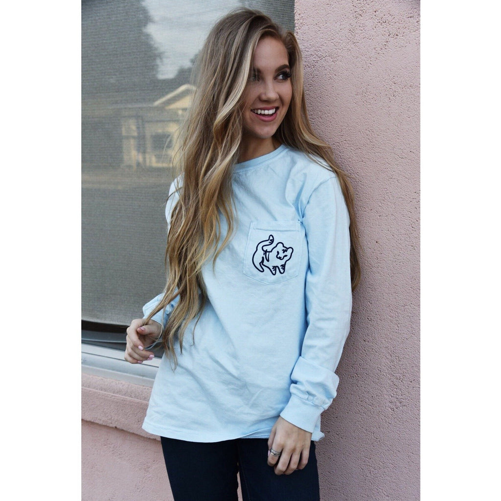 Chambray Long Sleeve Pocket Tee