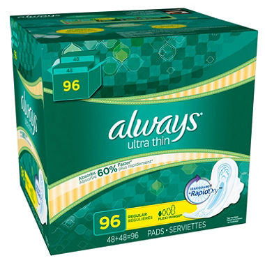 Always Ultra Thin Regular Pads with Wings (Choose Count) 48 Count or 96 Count