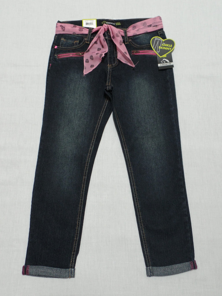 Jordache Roll Cuff Ankle Skinny Jeans, Adjustable Waist 60% Ramie, 22% Cotton, 17% Polyester, 1% Spandex: Sizes 6, 8, 12