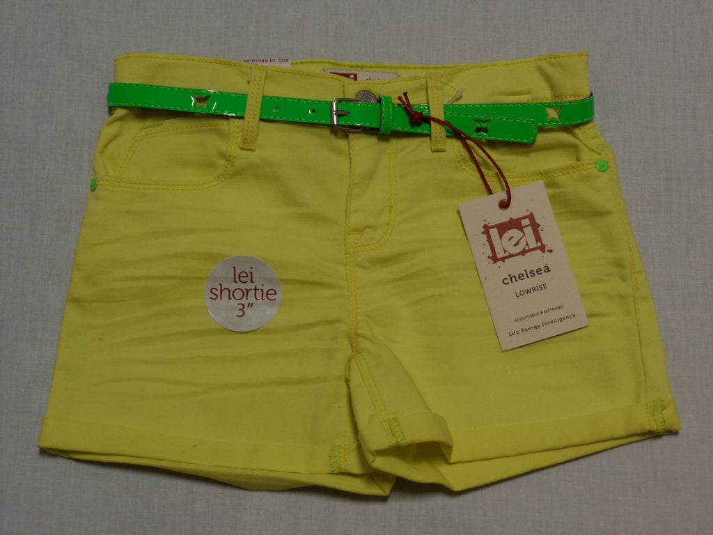 "Girls Shortie 3"" Pants with Green Belt (Adj. Waist) - 66% Cotton, 32% Poly, 2% Spandex: Sizes 4, 10, 12"