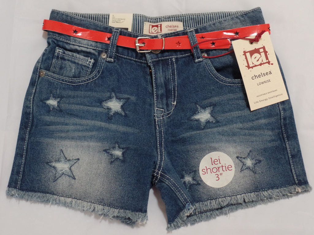 "Girls Lowrise Shortie 3"" Jeans with Red Belt (Adj. Waist) - 100% Cotton: Size 10"