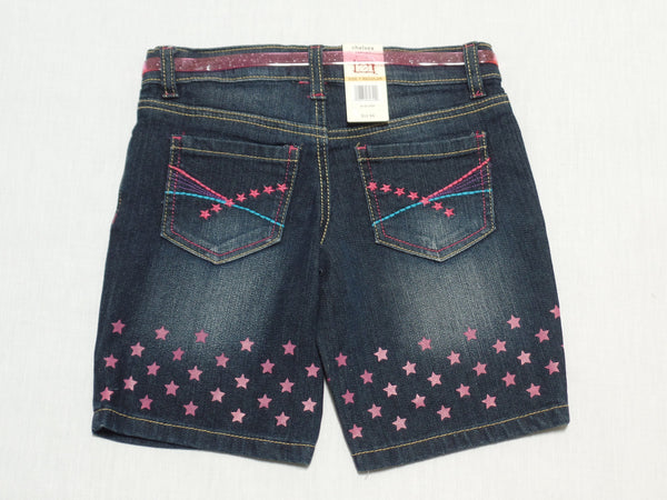 Girls Lowrise Jeans Shorts with Pink Belt (Adj. Waist)-57% Ramie, 26% Cotton, 16% Polyester, 1% Spandex: Size 7