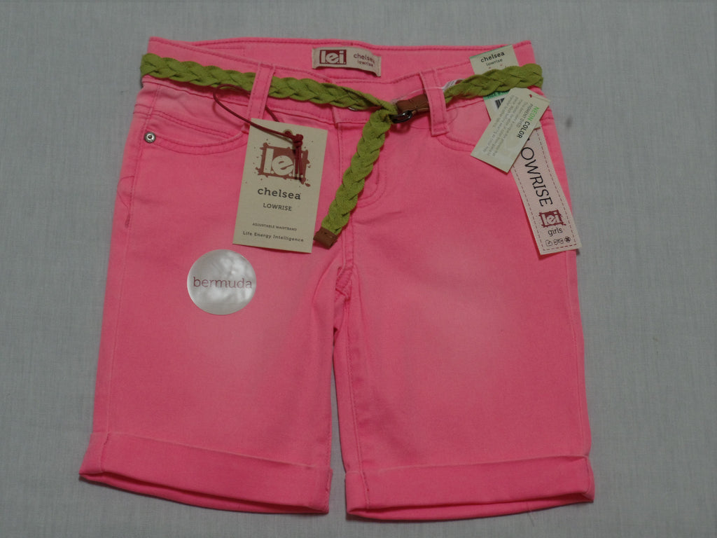 Girls Bermuda Shorts with Green Belt (Adj. Waist) - 98% Cotton, 2% Spandex: Sizes 4, 5, 6, 7, 8, 10, 14