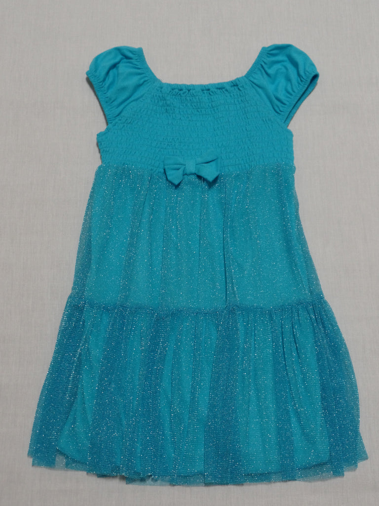 Glitter Tulle Dress (With Bow) 60% Cotton, 40% Polyester: Sizes 24M, 3T, 4T, 5T