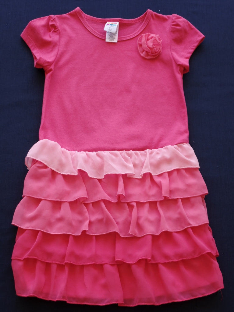 Ombre Chiffon Dress - 60% Cotton, 40% Polyester: Sizes 4T, 5T