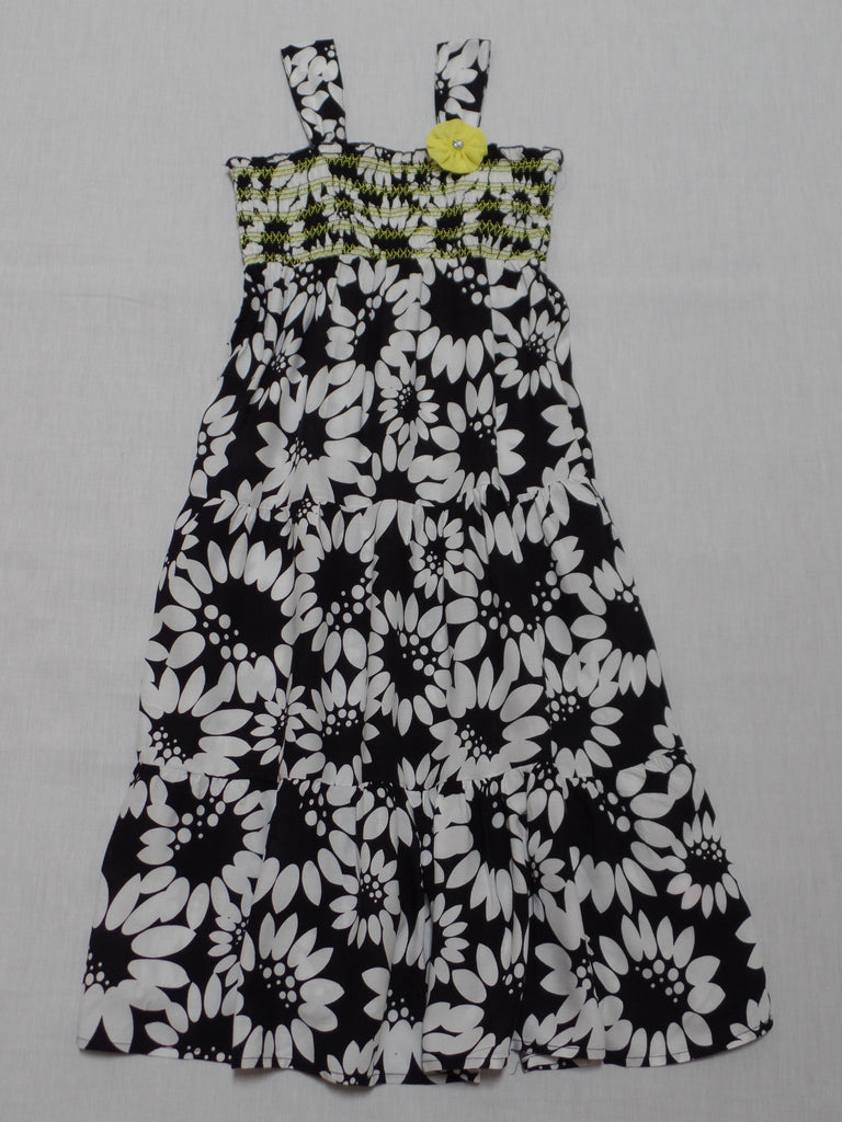 String Stretch Top Large Flowers Dress - 100% Rayon: Size S 6-6X