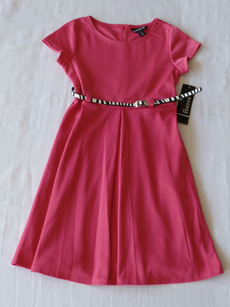 Ponte S/S Dress with Belt - 96% Polyester, 4% Spandex: Sizes XS, S, M, L, XL