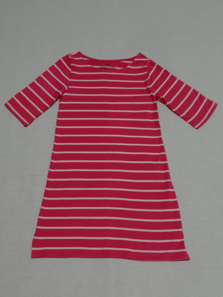 Girls FG 3-Quarter Sleeve Striped Dress - 100% Cotton: Size L 10-12